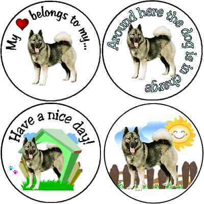 * Assortment of 252 Norwegian Elkhound stickers seals labels laser
