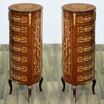 PAAR runde PFEILER-KOMMODEN je 7-schübig, SET of 2 tall FRENCH CHESTS of DRAWERS