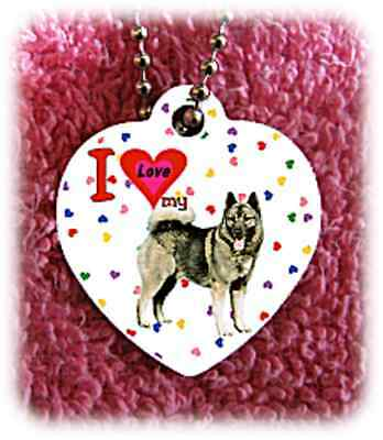 Norwegian Elkhound Dog heart necklace background of hearts
