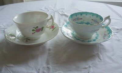 Sweet Set of 2 Antique Cabinet Cups and Saucers