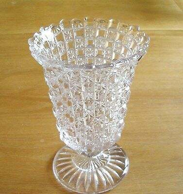 Antique Pressed Glass Patterned Pedestal Celery Vase 654 Picclick