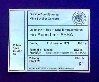 ABBA - November 2, 1979 Used Concert Ticket - Festhalle, Frankfurt, Germany