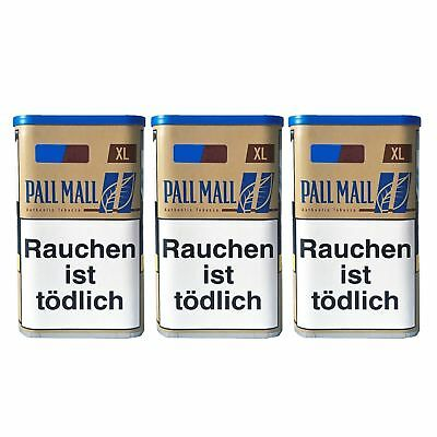 3 Pall Mall Authentic Blue / Blau XL Dose Zigarettentabak/Stopftabak Inhalt 65 g