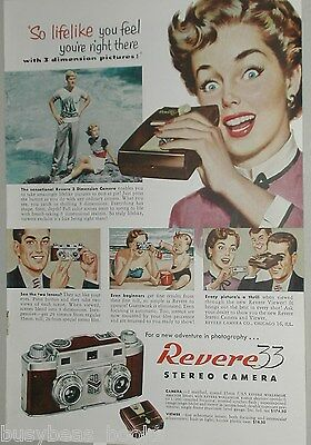 1953 REVERE Camera advertisement page for Revere 33 Stereo Camera