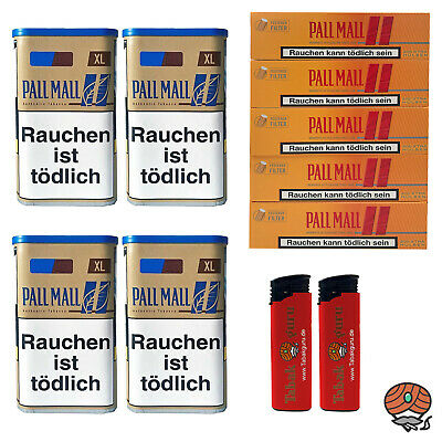 4x Pall Mall Authentic Blue / Blau XL Tabak Dose 65g, Hülsen, Feuerzeuge