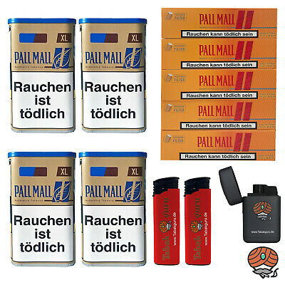 4 Pall Mall Authentic Blue/Blau XL Tabak Dose, Allround Hülsen, 3 Feuerzeuge