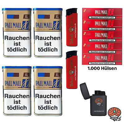 4 Pall Mall Authentic Blue/Blau XL Tabak Dose, Authentic Hülsen, 3 Feuerzeuge