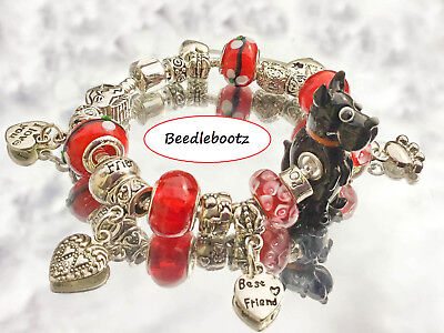 Scottish Terrier Charm Bracelet. You Complete My Heart. Paw Prints. Hand Made.