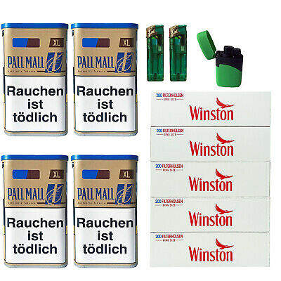 4 Pall Mall Authentic Blue/Blau XL Tabak Dose, PL88 Hülsen, 3 Feuerzeuge