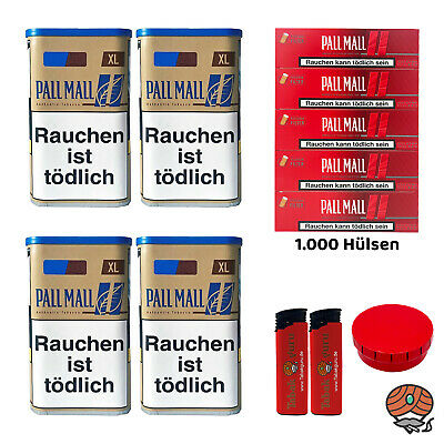 4 Pall Mall Authentic Blue/Blau XL Tabak, Authentic Hülsen, Feuerz, Aschenbecher