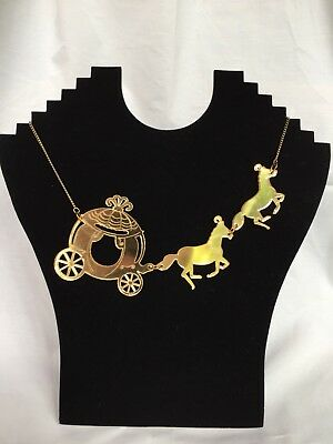 Tatty Devine Mirrored Gold Cinderella Horse and Carriage Necklace In Box