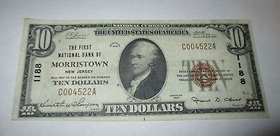 $10 1929 Morristown New Jersey NJ National Currency Bank Note Bill Ch. #1188 VF!
