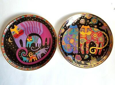 LAUREL BURCH 2 Signed Porcelain Plates Flowering Family Felines Cat Collector