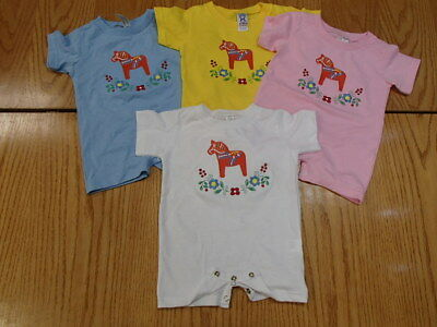 Embroidered Swedish Dala Horse & Flowers on Romper One pc T-shirt w snap crotch
