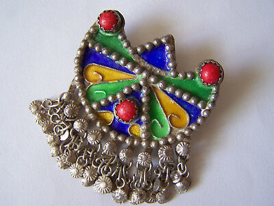 Ancienne Broche Berbere Ethnique Kabyle Argent Massif  Email Cloisonne