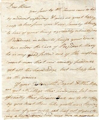 1795, Charleston, S.C. , Elijah Green letter to brother at Rhode Island College