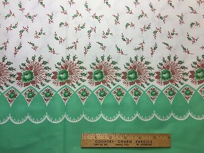 Vintage Cotton Fabric 40s PRETTY Green Roses Border Pillowcase Print 35w 1yd