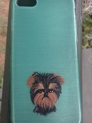 Hand Painted art Yorkshire Terrier yorkie iPhone 7 or 8 cell phone case aqua