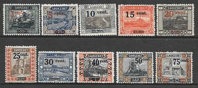 SAAR - 1921 Pictorial Defins - French Surchs - Short set of 10 to 75c/2m, MH.