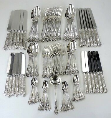 Rare BRIGHT VINE 91-piece SILVER CANTEEN of CUTLERY SET London 1874 George Adams