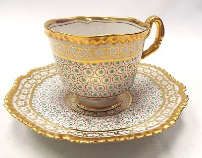 FLIGHT BARR & BARR (FBB + CROWN) Gilded Tea Cup & Saucer - P21