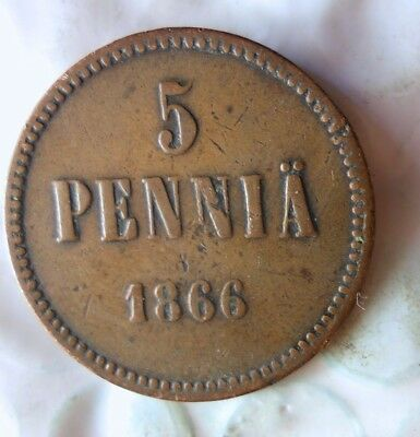 1866 FINLAND 5 PENNIA - RARE OLDER DATE - High Value Coin - Lot #722
