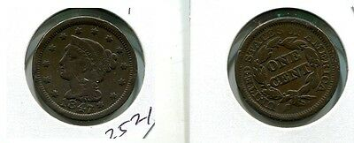 1847 Braided Hair Large Cent Type Coin Vf 2521J