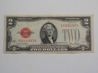 Currency Note 1928 2 Dollar Bill Red Seal Note Paper Money United States USA