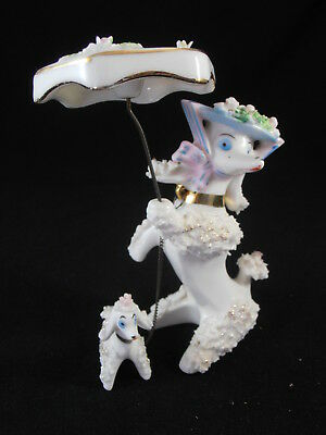 Spaghetti Trim French Poodle Mommy Dog W Puppy Under Umbrella Figurine