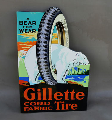 GILLETTE CORD TIRES With Polar Bear Flange Sign   Gas station auto Modern retro