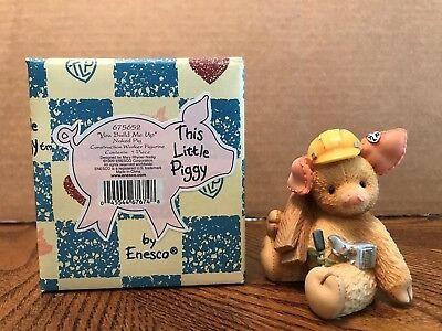 """Enesco This Little Piggy """"You Build Me Up"""" Naked Pig Construction Worker  675652"""