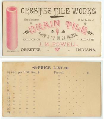 c1880s Orestes Indiana J M Powell Tile Works Drain Tile business trade card