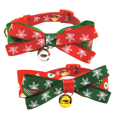 Adjustable Lovely Christmas Pet Cat Dog Neck Bowtie Bowknot Bell Bow Tie Collar