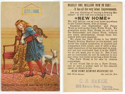 c1880s New Home Sewing Machine trade card - C S Baker 803 Kansas Ave Topeka
