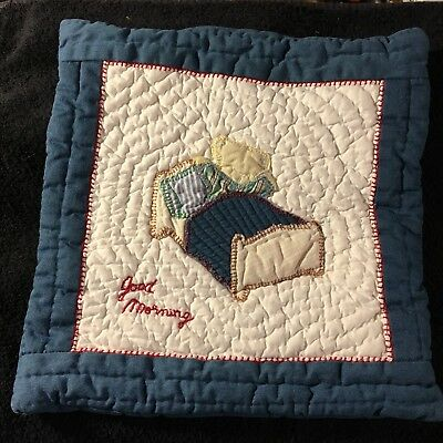 Small Kids Quilted Pillow Sham Bear in Bed Good Morning