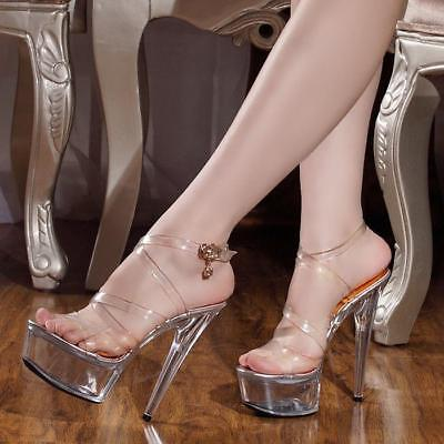 5391abbd5736a SEXY CLEAR TRANSPARENT womens 15cm high heels crystal stilettos pumps shoes  size