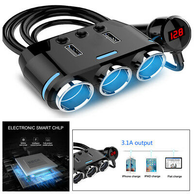 Portable Car Cigarette Lighter 3 Way Socket Splitter Plug 1A 2.1A 100W For Phone