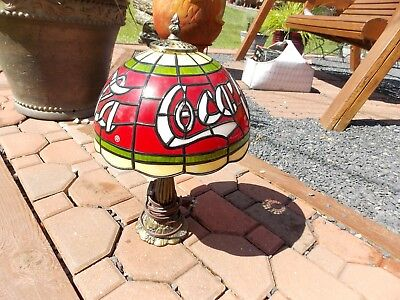 """Vintage Coca-Cola Stained Glass Lamp 15 1/2"""" Tall WORKS"""