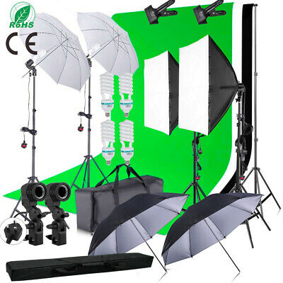 Studio Photo White Black Green Screen Backdrop Light Stand Umbrella Lighting Kit