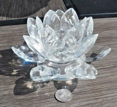 """Unsigned  Swarovski Prism Crystal 7""""  Water Lily Lotus Blossom Candle Holder"""