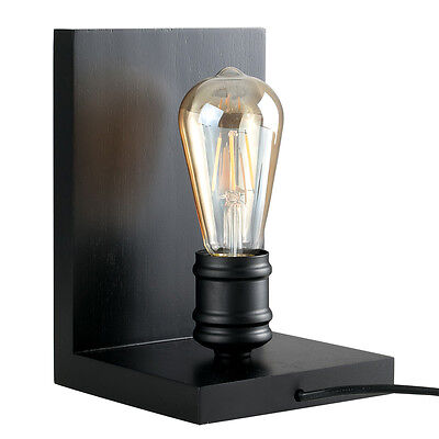 Vintage Industrial Style Book End Table Lamp Black Wood Edison Bulb Lounge Light