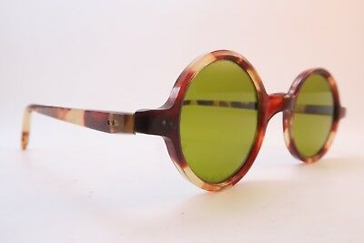 Vintage 20s round celluloid sunglasses tinted glass lenses handmade *****