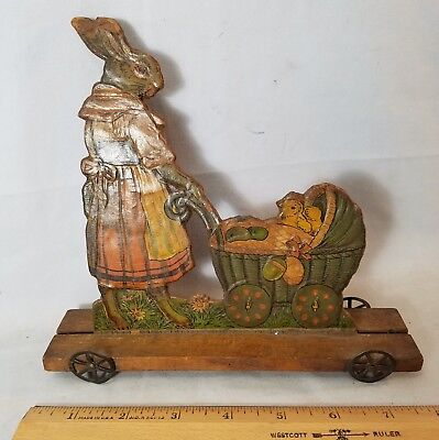 Rarest Late 1800's Easter Rabbit Pushing Chick In Buggy Pull Toy Germany? Offers