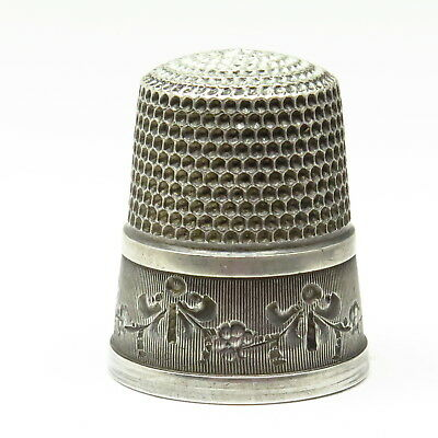 Antique Simons Bros Garland Festoon Engraved Sterling Silver Sewing Thimble Sz9