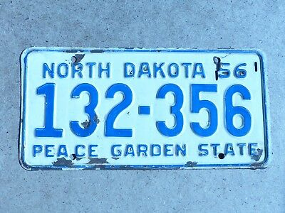 "Used 1956 North Dakota Single Car Liicense Plate # 132-356  ""Peace Garden State"""