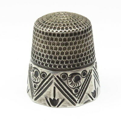 Antique Goldsmith Stern Sterling Silver 10 Side Panel Thimble Size 12 Sewing