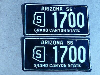 1956 Arizona State Liicense Plates PAIR # S 1700 Amateur Repaint    Grand Canyon