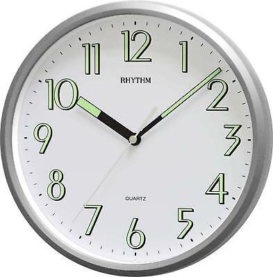"""Rythmn10"""" 25cm Kitchen Wall Clock with Silver finish and Super Luminous hands"""