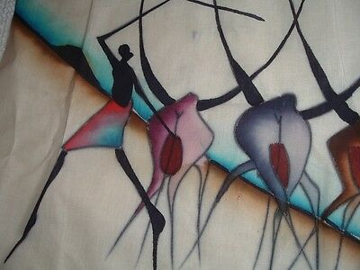 Vtg 70s African Heardsman Wallhanging Ink Art Fabric To Embroider 17x30 #mfb4
