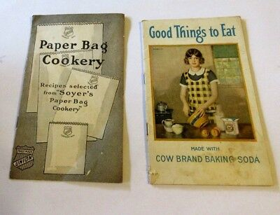 2 Antique Adv. Recipe Booklets Cow Brand Soda Good Things To Eat Paper Bag Cook